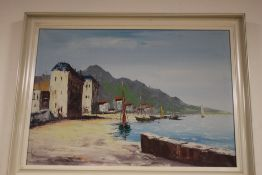 A FRAMED OIL ON BOARD DEPICTING A HARBOUR SCENE SIGNED TO THE LOWER RIGHT, SIGNATURE INDISTINCT