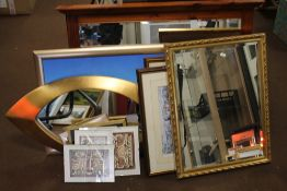 A QUANTITY OF PICTURES, PRINTS AND A MIRROR TOGETHER WITH A PINE FRAMED MIRROR 95 X 73 CM