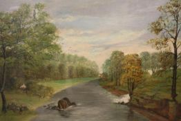 A GILT FRAMED AND GLAZED OIL ON BOARD DEPICTING A RURAL RIVER SCENE SIGNED PINFOLD 1896 LOWER