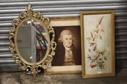 A VICTORIAN FLORAL PAINTING ON MILK GLASS, TOGETHER WITH A PORTRAIT PRINT OF A GENTLEMAN, AND A GILT