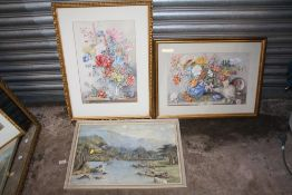 TWO FRAMED AND GLAZED STILL LIFE WATERCOLOURS OF FLOWERS IN VASES, TOGETHER WITH A WATERCOLOUR OF