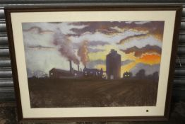 (XX). Northern industrial factory scene at dawn, unsinged, pastels on paper, framed and glazed, 46 x