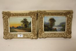 A PAIR OF GILT FRAMED OIL ON BOARD PAINTINGS DEPICTING A RIVER SCENE AND A COUNTRY LANE - 18 X 13