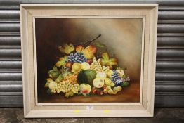 A FRAMED OIL ON BOARD STILL LIFE STUDY OF FRUIT, SIGNED RAYWORTH, 61 X 52 CM