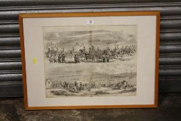 A DOUBLE SIDED FRAMED AND GLAZED 'THE LONDON ILLUSTRATED NEWS' FOR JULY 28 1855 REPORTING THE 'CHA