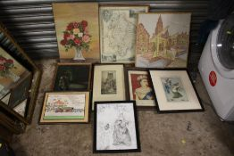 A BOX OF ASSORTED PICTURES AND PRINTS TO INCLUDE AN OIL PAINTING OF A MOTORCYCLIST, STILL LIFE OIL