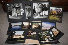 A LARGE QUANTITY OF UNFRAMED ARTISTIC PHOTOGRAPHS MOUNTED ON CARD TO INCLUDE ARCHITECTURAL EXAMPLES