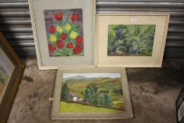 A FRAMED OIL ON CANVAS ENTITLED 'A CUMBERLAND FARM', TOGETHER WITH A STILL LIFE WATERCOLOUR OF