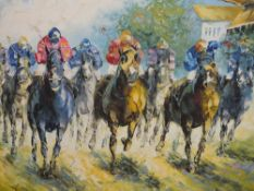 A FRAMED OIL ON CANVAS DEPICTING A HORSE RACING SCENE SIGNED J DANNY LOWER RIGHT SIZE - 60CM X 50CM