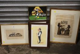 A COLLECTION OF PICTURES AND PRINTS TO INCLUDE FIVE FRAMED AND GLAZED SNOOKER CHARACTER PRINTS