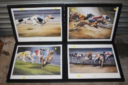 A SET OF FOUR FRAMED AND GLAZED SIGNED DOG RACING INTEREST PRINTS BY DAVID FRENCH OVERALL SIZE