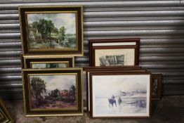 A BOX OF ASSORTED PRINTS TO INCLUDE GILT FRAMED EXAMPLES