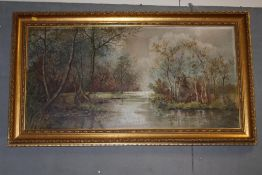 A LARGE GILT FRAMED OIL ON CANVAS DEPICTING A WOODLAND RIVER LANDSCAPE INITIALLED R G LOWER RIGHT