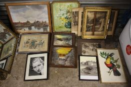A BOX OF ASSORTED PICTURES TO INCLUDE OIL PAINTINGS, PRINTS, FRAMES, ETC.