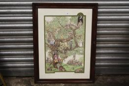 A FRAMED AND GLAZED PEN AND INK DRAWING ENTITLED 'THE TREE OF LIFE', SIGNED HAYLEY MANSELL,