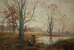 AN UNFRAMED 19TH CENTURY OIL ON CANVAS DEPICTING WOOD GATHERERS BESIDE A LAKE
