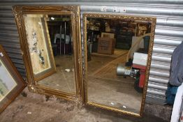 A LARGE GILT FRAMED BEVEL EDGED WALL MIRROR OVERALL - 91CM X 66CM, TOGETHER WITH A SMALLER