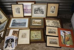 A BOX OF ASSORTED PICTURES AND PRINTS ETC.