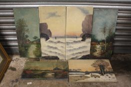 A COLLECTION OF SIX VINTAGE OIL ON CANVASES ALL SIGNED E TANNER TO INCLUDE RURAL LANDSCAPES, PAIR OF
