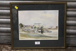A FRAMED AND GLAZED WATERCOLOUR DEPICTING THE THAMES AT HAMMERSMITH, SIGNED POUTMEY