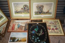 A COLLECTION OF ASSORTED PICTURES TO INCLUDE A PAIR OF SIGNED E R STURGEON PRINTS, CROSS STITCH,