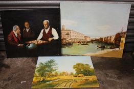 THREE UNFRAMED OIL ON BOARD PAINTINGS COMPRISED OF A CHESS GAME SCENE, A VENETIAN SCENE AND A