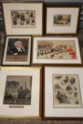 FOUR FRAMED AND GLAZED ANTIQUE HAND COLOURED JUDICIAL / COURTROOM PRINTS TOGETHER WITH TWO OTHER