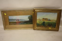 A GILT FRAMED AND GLAZED OIL ON CARD ENTITLED 'ON THE ORWELL' VERSO TOGETHER AN OIL ON BOARD OF A