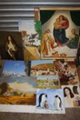 A QUANTITY OF UNFRAMED OIL ON BOARD PAINTINGS TO INCLUDE PORTRAIT STUDIES AND AN ICE SKATING SCENE