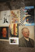 A COLLECTION OF ASSORTED UNFRAMED PICTURES TO INCLUDE AN OIL ON CANVAS PORTRAIT STUDY, WATERCOLOUR