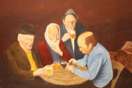 AN UNFRAMED OIL ON BOARD DEPICTING FIGURES AT A TABLE, WITH A LAST SUPPER SCENE ON THE REVERSE