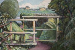AN UNFRAMED OIL ON BOARD OF A COUNTRY LANDSCAPE, SIZE 60.5 CM X 45 CM