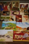 A COLLECTION OF UNFRAMED OIL PAINTINGS AND WATERCOLOURS