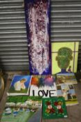 A QUANTITY OF ASSORTED UNFRAMED OIL ON CANVAS PAINTINGS TO INCLUDE HARBOUR SCENES AND ABSTRACT