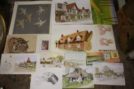 A LARGE QUANTITY OF UNFRAMED PICTURES TO INCLUDE WATERCOLOURS, PEN AND INK DRAWINGS ETC