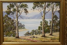 A SMALL GILT FRAMED AUSTRALIAN STYLE OIL ON BOARD OF A MOUNTAINOUS COUNTRY LAKE SCENE SIGNED B