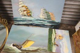 THREE UNFRAMED OIL ON BOARD PAINTINGS OF SHIPS IN CHOPPY SEAS