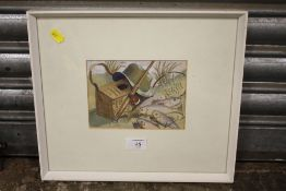 A FRAMED AND GLAZED WATERCOLOUR GOUACHE STILL LIFE OF A FISHING EQUIPMENT, SIGNED L H BARNARD
