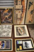 A COLLECTION OF WOLVERHAMPTON WANDERERS WALL MOUNTED PICTURES TO INCLUDE A MOLINEAUX PRINT