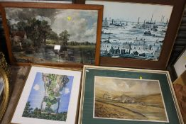 A COLLECTION OF PICTURES AND PRINTS TO INCLUDE A LOWREY PRINT, WATERCOLOUR OF IRONBRIDGE , EDRICK