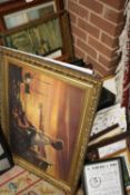 A LARGE QUANTITY OF ASSORTED PICTURES AND PRINTS TO INCLUDE A MOHAMMED ALI PRINT, WOODEN WALL