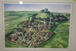 A FRAMED AND GLAZED LIMITED EDITION STAFFORD CASTLE PRINT BY R SCOLLINS