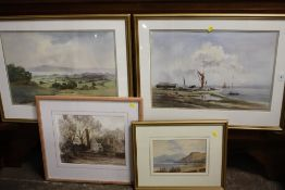 A COLLECTION OF WATERCOLOURS TO INCLUDE A MOUNTAINOUS LAKE SCENE SIGNED G L WEAVER, HARVEST SCENE