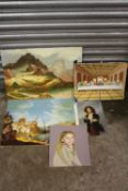 A COLLECTION OF UNFRAMED OIL PAINTINGS TO INCLUDE PORTRAIT STUDIES, LANDSCAPES ETC - LARGEST 60.5 CM