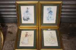A SET OF FOUR GILT FRAMED AND GLAZED LIMITED EDITION 'THEATRE OF FASHION' PRINTS SIGNED RIMALDA
