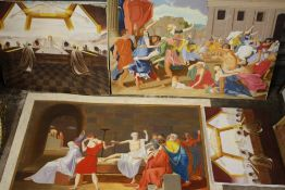 FOUR UNFRAMED OIL PAINTINGS OF HISTORICAL SCENES SIGNED N K DAY