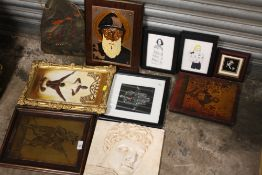 A COLLECTION OF UNUSUAL PICTURES TO INCLUDE A PAINTING ON SLATE, PLASTER WALL HANGING, RELIGIOUS