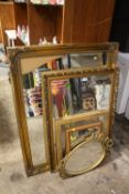 A COLLECTION OF WALL MIRRORS TO INCLUDE GILT FRAMED EXAMPLE - LARGEST A/F