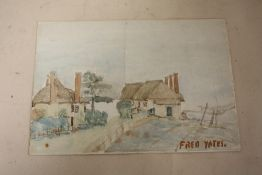 AFTER FRED YEATES - AN UNFRAMED WATERCOLOUR OF COTTAGES, SIZE 25.5 CM X 17.5 CM