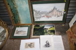 A COLLECTION OF FRAMED AND UNFRAMED PICTURES TO INCLUDE LOCAL INTEREST PRINTS ETC